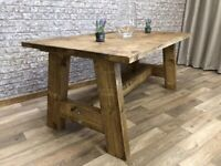 Pine A-Frame Reclaimed Rustic Farmhouse Chunky Style Kitchen Dining Table - Many Sizes, Any Colour!