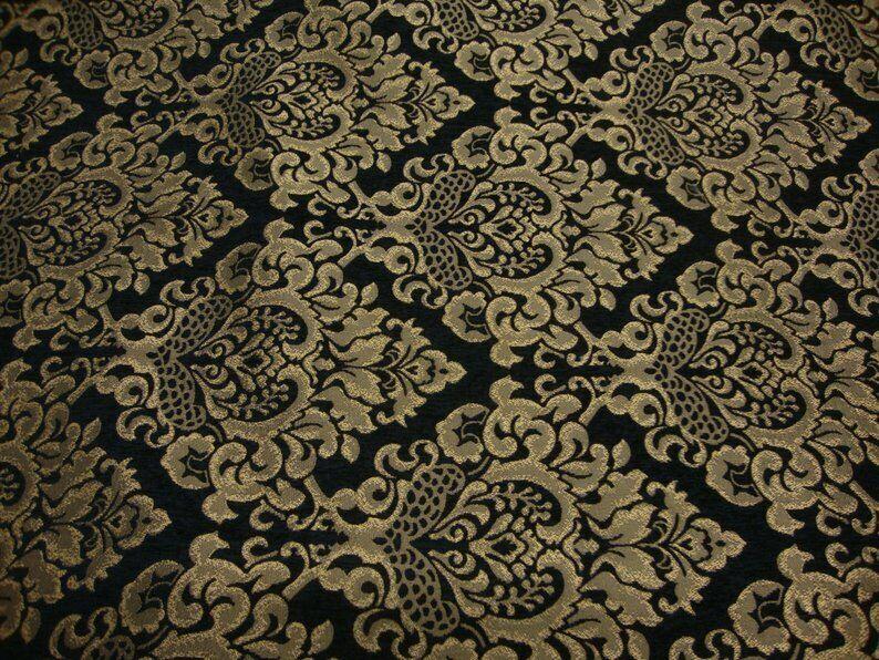 Black  Cleopatra Chenille Fabric Gold Damask Print upholster