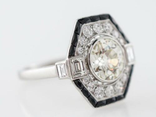 Modern Art Deco Style 2.05TCW Old European Cut CZ & Black Onyx Engagement Ring