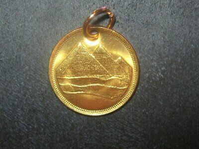 18MM Egyptian Egypt Rose Gold Vintage Copper Pyramid Coin Pendant Charm Tut   -