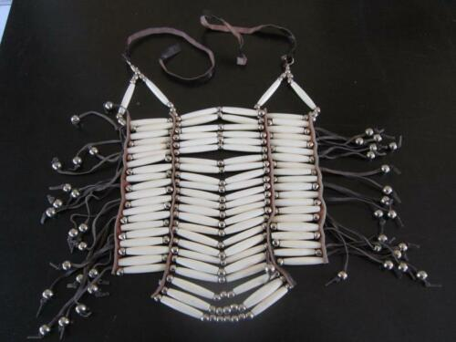 20 Row White Buffalo Bone Breastplate Geronimo Regalia Pow Wow Indian