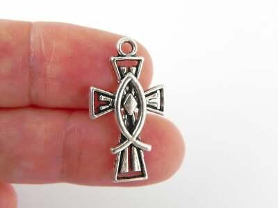 Jesus Fish Necklace (CROSS JESUS FISH BIBLE PRAY GOD 925 sterling Silver DAINTY 18