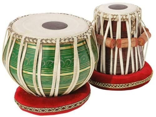 Sai Musical Tabla Drum Set Of 2kg Green Brass Bayan Finest Dayan With Book