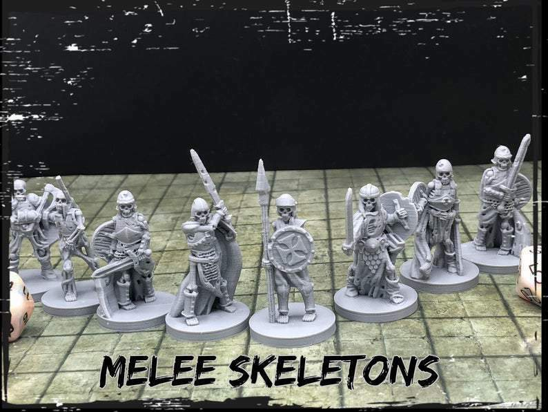 Melee Skeletons Set of 8 Miniatures 28mm Dungeons and Dragons DnD Mini