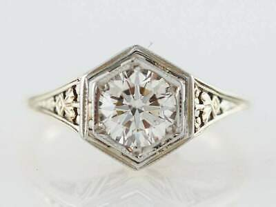 1.2ct Round Cut Diamond Engagement Ring Filigree Vintage 14k White Gold Over