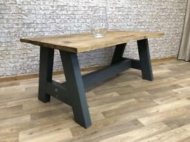 Rustic Farmhouse Chunky A-Frame Reclaimed Style Pine Kitchen Dining Table - Many Sizes, Any Colour!