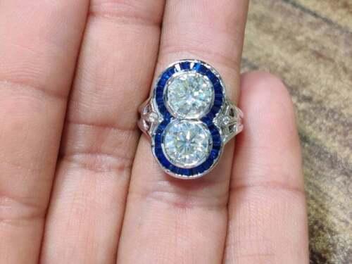 Fabulous Bezel Set 3.13CT Cubic Zirconia With Baguette Shape Blue Sapphire Ring