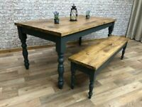 Rustic Reclaimed Style Traditional Farmhouse Pine Kitchen Dining Table - Any Size, Any Colour!