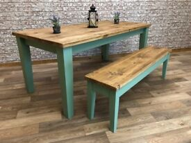 Tapered Leg Rustic Farmhouse Reclaimed Style Pine Kitchen Dining Table - Any Size, Any Colour!