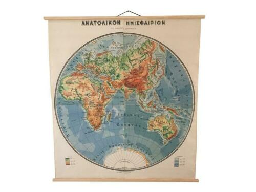 Eastern Hemisphere Chart, Vintage Pull Down World Map Eastern Hemisphere