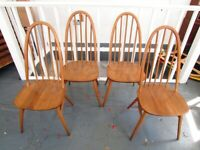 Set of Four 1960s Ercol Blue Label Windsor Dining Chairs. Vintage/Retro/Mid Century