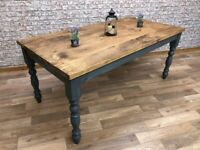 Reclaimed Style Traditional Rustic Farmhouse Pine Kitchen Dining Table - Any Size, Any Colour!