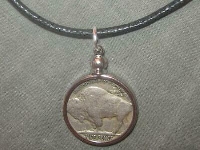 1930s Art Deco Style Jewelry Indian Southwest Bezel Set 1930's Buffalo Nickel Pendant Coin Charm Necklace $11.99 AT vintagedancer.com