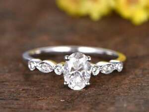 1.50 Ct Oval Cut Moissanite Engagement Ring In 14k White Gold