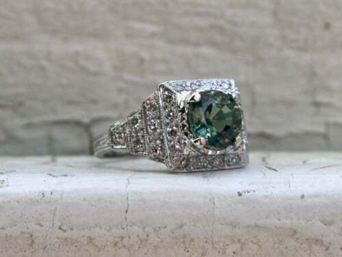 Fantastic Green Round Cut 2.03CT Peridot With Genuine White CZ Art Deco Ring