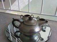 Antique Vintage Craftsman Pewter Sheffield Tea Set / Art Nouveau Teapo