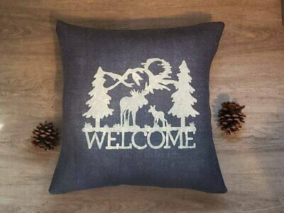 Custom rustic navy blue burlap welcome moose WHITE or custom color pillow cover - Navy Burlap