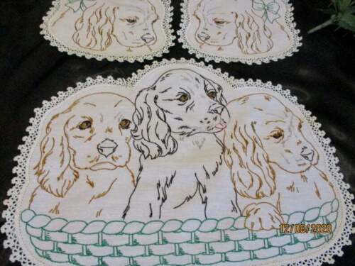 Vintage Spaniel Dogs Hand Embroidered Doily Trio