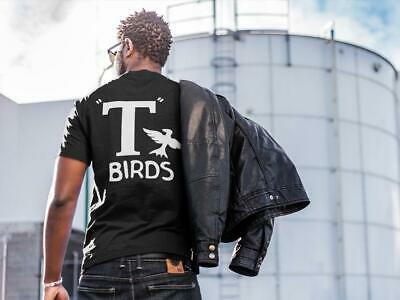 T Birds GREASER mens black graphic tee shirt halloween costume tshirt sock hop