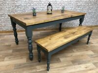Traditional Rustic Farmhouse Reclaimed Style Pine Kitchen Dining Table - Any Size, Any Colour!