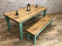 Any Size, Any Colour! Tapered Leg Rustic Farmhouse Reclaimed Style Pine Kitchen Dining Table