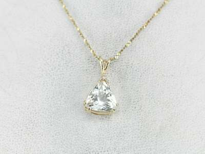 1.50 ct Trillion Diamond Womens Solitaire Pendant Necklace 14K Yellow Gold -