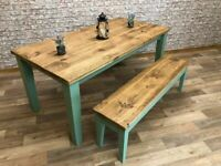 Rustic Farmhouse Reclaimed Style Pine Kitchen Dining Table Any Size, Any Colour! Tapered Leg