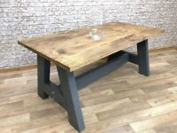 Farmhouse Chunky A-Frame Rustic Reclaimed Style Pine Kitchen Dining Table - Many Sizes, Any Colour!