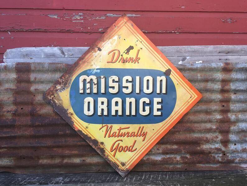 Vintage Mission Orange Sign Metal Soda Pop Sign Large 29x29 Inch St.Louis USA