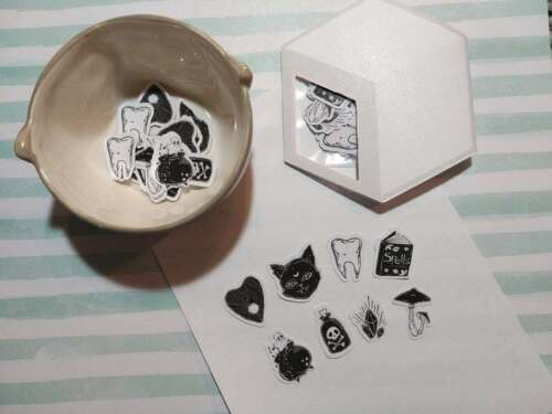 Sugar Blocks Sticker Flakes - Black Magic - Witchy Cat Spells Ghost Crystals