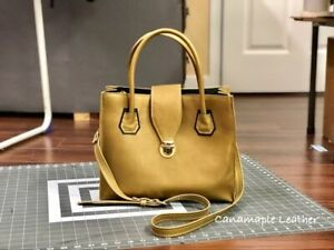 CANAMAPLE LEATHER-HANDMADE CARRY-ALL CROSS- BODY BAG/ PURSE GOLD