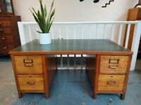 1970's Twin Pedestal Oak Partners Desk. Vintage/Retro/Mid Century