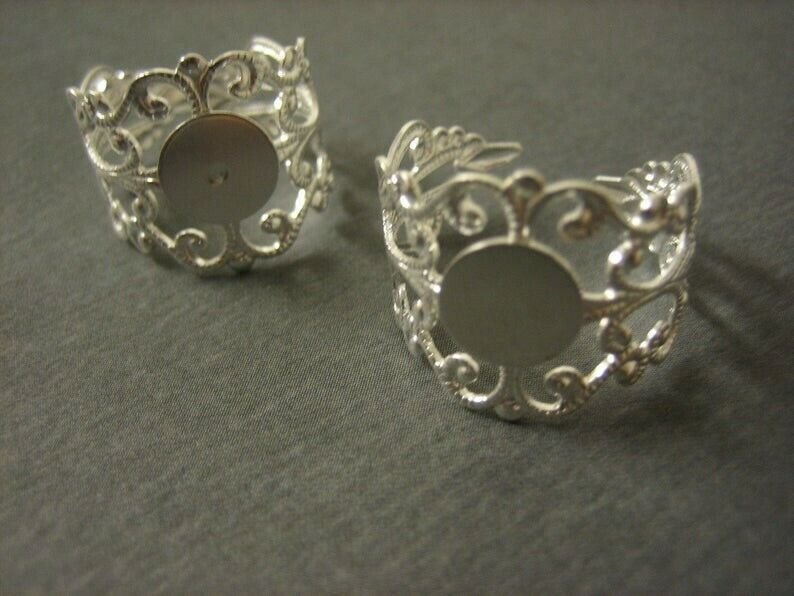 2PCS Filigree Ring Blanks Silver Toned Brass Ring Blanks 10mm Blank Pad DIY