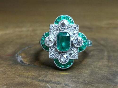 French Art Deco Style Vivid Green Emerald With Shiny White CZ 2.78TCW Fine Ring