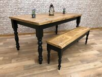 Farmhouse Traditional Rustic Reclaimed Style Pine Kitchen Dining Table - Any Size, Any Colour!