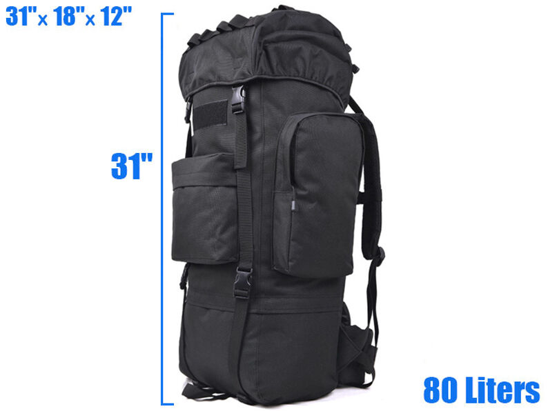 8L/10L/30L/55L/80L Outdoor Military Tactical Camping Hiking Trekking Backpack  80L Black