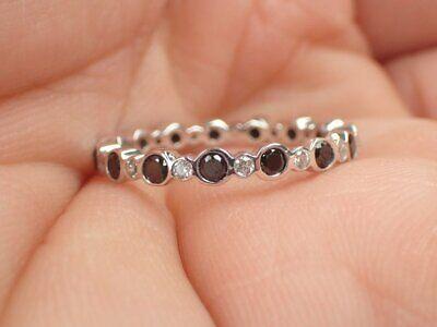 1.20Ct Round Cut Black Diamond Full Eternity Wedding Band Ring 14K White Gold FN ()