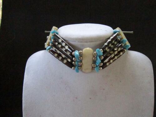 Turquoise & Brown  Buffalo Bone Choker Necklace Jewelry Native Tribal Regalia