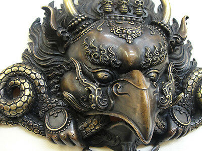 Garuda Mask Tibetan Buddhist Bronze Handcrafted from Nepal Very Detailed Large