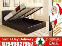 New King Size Leather Ottoman Storage Bed Frame With Semi Orthopaedic Mattress