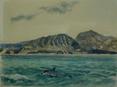 KARL ADSER (1912–1995) KRETA GREECE - KÜSTE MIT DELFIN - DOLPHIN - LISTED ARTIST Dolphin Papier