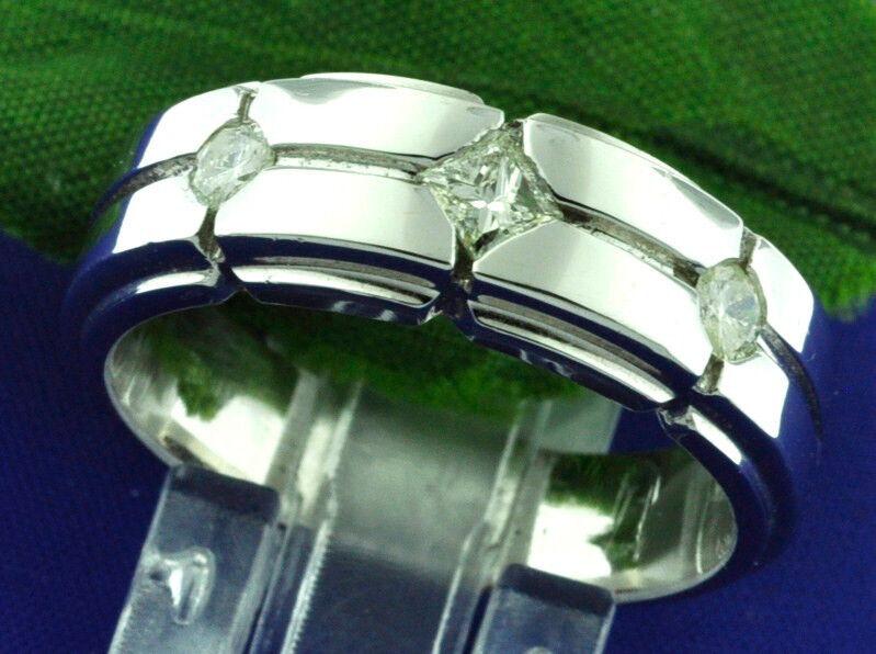 0.40 Ct 14k Solid White Gold Mens Diamond Ring 3 Stone 9.0 Grams  Princess Cut
