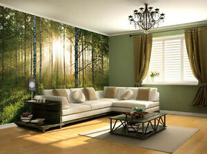 NEW WALLPAPER MURAL FOREST TREES PHOTO WALL PAPER POSTER LIVING ROOM BED MURALS