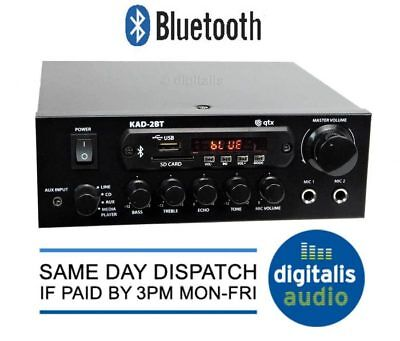 QTX KAD-2BT 55w Digital Stereo Amplifier Bluetooth Tuner USB SD Aux IN Mic Input