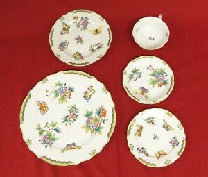 Herend Queen Victoria Pattern 5pc Dinner Place Setting Porcelain China Green