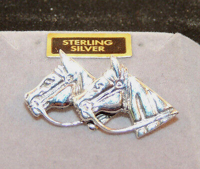 Sterling Silver Double Horse Head Pin 33x17x8mm (10654)