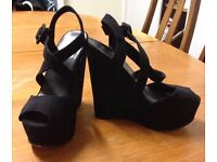 Office size 3 black strap high heels like NEW