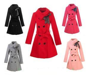 Womens-Woolen-Warm-Winter-Long-Coat-Jacket-Trench-Slim-Fit-Fashion