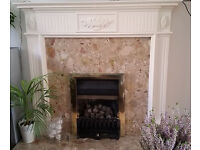 Wooden fire surround with marble back and hearth
