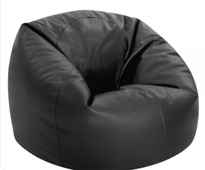 X large black leather bean bag chair